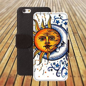 sun and moon colorful iphone 5/ 5s iphone 4/ 4s iPhone 6 6 Plus iphone 5C Wallet Case , iPhone 5 Case, Cover, Cases colorful pattern L047