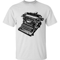 Mens Vintage Typewriter White Tee Shirt S M L