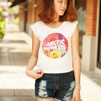 Arctic Monkeys Crop Top Tanks Women T-Shirts Muscle Tee Graphic Crop Tops Women Hipster Shirts Flower