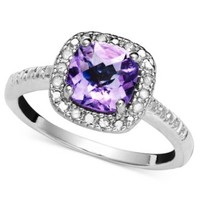 Victoria Townsend Sterling Silver Ring, Purple Amethyst (1-1/4 ct. t.w.) and Diamond (1/10 ct. t.w.) | macys.com