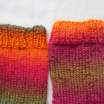 Mismatched Women's Socks Hand Knit in Orange, Blue, Green and Magenta / Ladies Medium - Sizes 7, 8, 9
