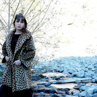 "Vintage Coat 60's Faux Fur Leopard Print Dbl. Breasted Big Collar Swing XL 48"" B"