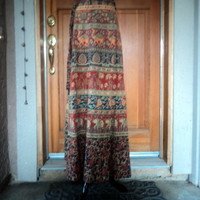 "Vintage 70s Tapestry Block Print INDIA Hippie Wrap Maxi Skirt / Dress Size 34"" Waist"