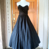 "Vintage 70s Strapless All Lace over Taffeta Ruffled Lace Bodice Prom Formal Maxi Dress 34"" B"