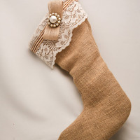 Rustic burlap Christmas stocking with vintage accents