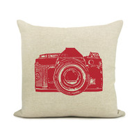 Camera pillow case - Red vintage camera print on natural beige cotton canvas throw pillow cover - 16x16 decorative pillow cover
