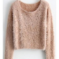 Sequin Fluffy Cropped Sweater