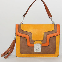 The Juliet Color Block Top Handle Bag in Wheat