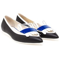 Pollini Leather Flats With Fringe Detail - Browns - Farfetch.com