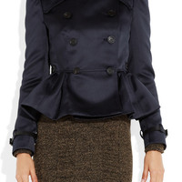 Burberry Prorsum | Double-breasted sateen peplum jacket  | NET-A-PORTER.COM