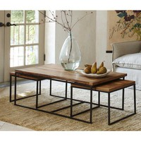 Three-Piece Railroad Tie Coffee Table - VivaTerra