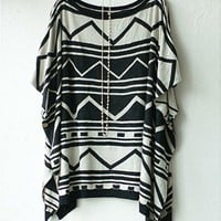 Geometric Print Loose Knit Capes