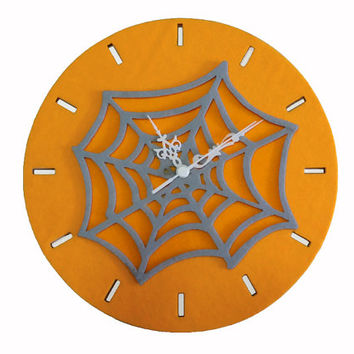 Large Wall Clock - Halloween Wall Decor - Orange Clock - Spider Web Wall Hanging - Teen Room Wall Decor