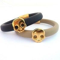 Black Or Beige Oval Rubber Bracelet.. on Luulla