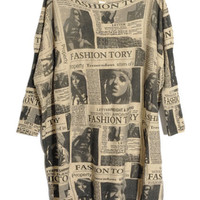 ROMWE | Oversized Newspaper Batwing Cardigan, The Latest Street Fashion