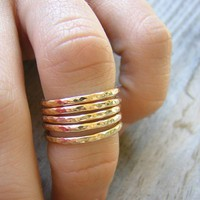 FIVE GOLDEN Rings,  14k Yellow Gold Stacking Rings, Made to Order