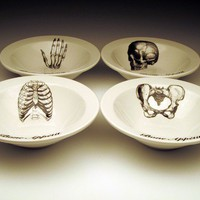 BONE APPETIT cereal bowl Set of 4 skeletal images