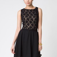 asymmetrical chiffon skirt in black
