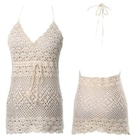 Lace Crochet Hollow Sleeveless Swimwear Bikini Cover Up Beach Dress