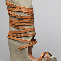 The Hudgens Strapped Sandal in Khaki Fabric by Jeffrey Campbell Shoes | Karmaloop.com - Global Concrete Culture
