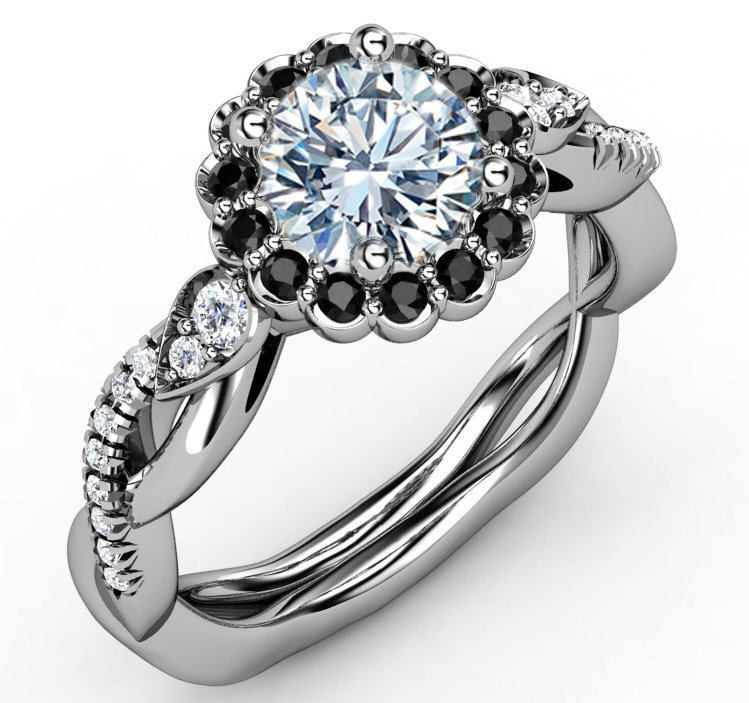 Engagement Ring Black Diamond Halo from mdcdiamonds