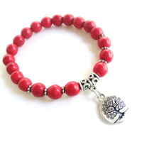 Tree of Life Mala Bracelet Candy Red Turquoise Protection Spiritual Yoga Jewelry Unique Gift Under 50 Item X32