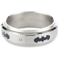 "DC Comics ""Batman"" Men's Stainless Steel ""Spinner"" Ring, Size 9 - designer shoes, handbags, jewelry, watches, and fashion accessories 