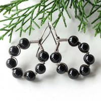 Sterling silver earrings - black onyx gemstone hoops
