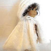 Cape White Hood Knit American Girl Doll