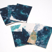 Galaxy handmade paper ACEO, set of 6 artist trading cards, gift tags collage
