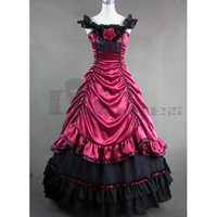 Alluring Sleeveless Bowknot Ruffles Multi-Layer Deep Red Gothic Fancy Dress for Halloween Victorian Dress Party Costumes on Sale [TQL1204270741] - 74.59