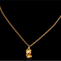 Women's 24K Gold Plated Copper Lucky Cat Pendant Necklace (Golden)