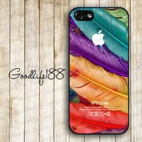 Custom iphone 5 case iphone 5 cover iphone 5 cases Hard case--colorized feather imageand skin unique design printing