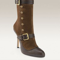 Manolo Blahnik Decaluno Bootie Brown
