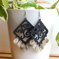 Black Wood Filigree Earrings - Ebony, Capiz Shell & Sterling Silver