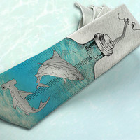 "#geek Jaws on mens tie ""Shark Attak"". Gray nautical necktie with ocean blue and shark teeth. Great weird gift for him with message in"