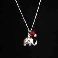 GOOD LUCK  Elephant Sterling Silver Necklace with Ruby Red Crystal Accent, Roll Tide, Alabama