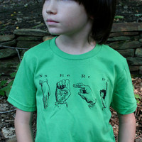 NERD Tee Shirt in Sign Language on American Apparel Grass Green Tee for Children