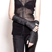 Black Washed Leather Fingerless Gloves - elbow length