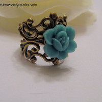 Japanese Blue Rose Ring  Antiqued Gold Filigree by swakdesigns