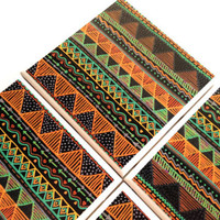 Tribal Tile Coasters Set, Triangle Pyramind Ceramic,  Arrow, Table Protector, Orange Brown Green