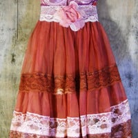 Rust lace dress pink silk ruffles cupcake fairytale wedding bridesmaid rose fall  vintage   romantic medium   by vintage opulence on Etsy