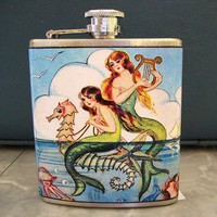 Mermaid flask retro vintage 1950's pin up by buckaroosmercantile