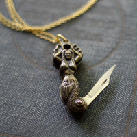 Mermaid Pocket Knife Necklace  Limited Edition by contrary on Etsy