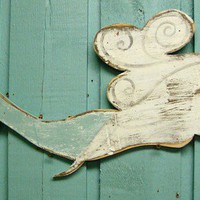 Pointing Mermaid Siren of the Sea Weathered Wood by castawayshall