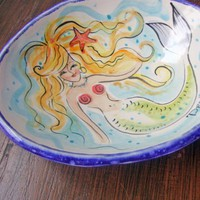 Colorful Mermaid Soapdish Hand Painted Majolica Pottery by iktomi
