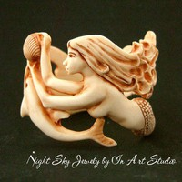 Mermaid and Dolphin Bracelet in Antique Ivory Resin by InArtStudio