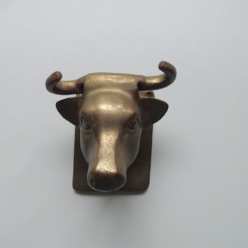 Vintage Brass Bull Head Wall Hanging 1980s