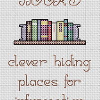 Funny Cross Stitch Pattern &quot;BOOKS clever hiding places for information&quot;