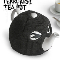 Terrorist Tea Pot : Teapot with balaclava tea cosy